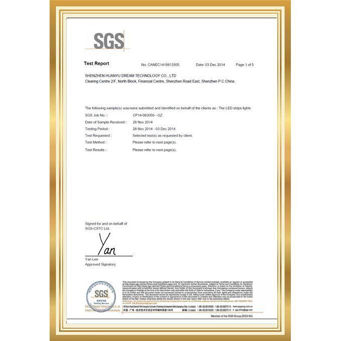 SGS 证书_Shenzhen Huanyu Dream Technology Co , Ltd